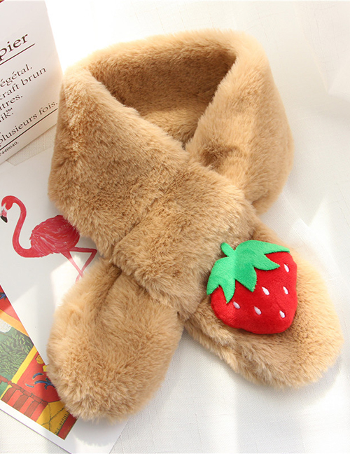 Fashion Khaki Strawberry Shape Decorated Child Scarf