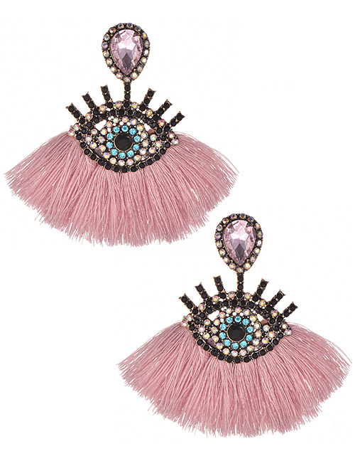 Fashion Pink Eye Shape Design Tassel Earrings