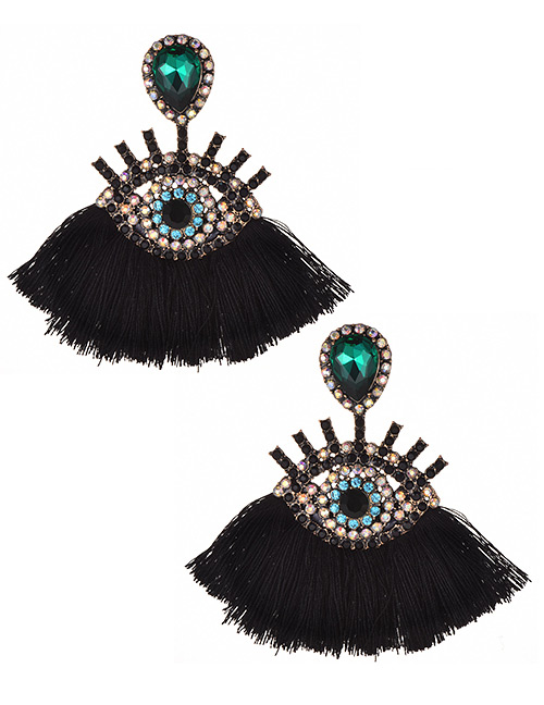 Fashion Black+green Eye Shape Design Tassel Earrings