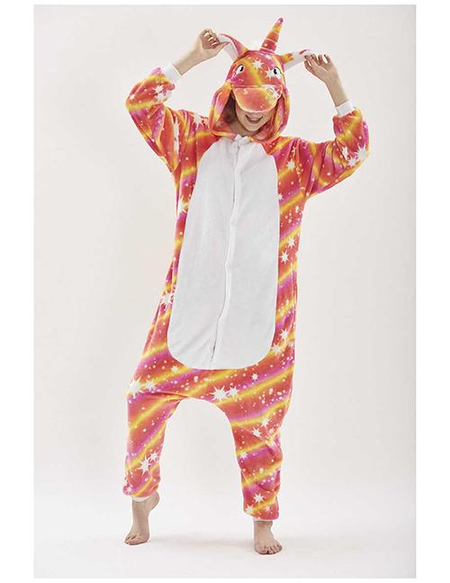 Fashion Orange Star Pattern Decorated Unicorn Pajamas