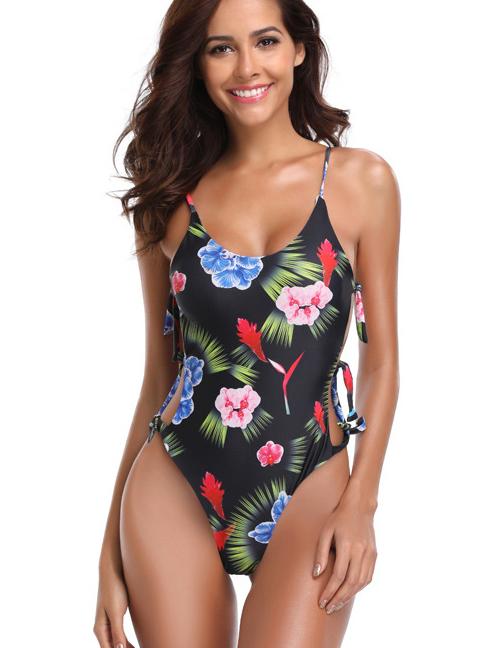 Fashion Multi-color Flower Pattern Decorated Bikini