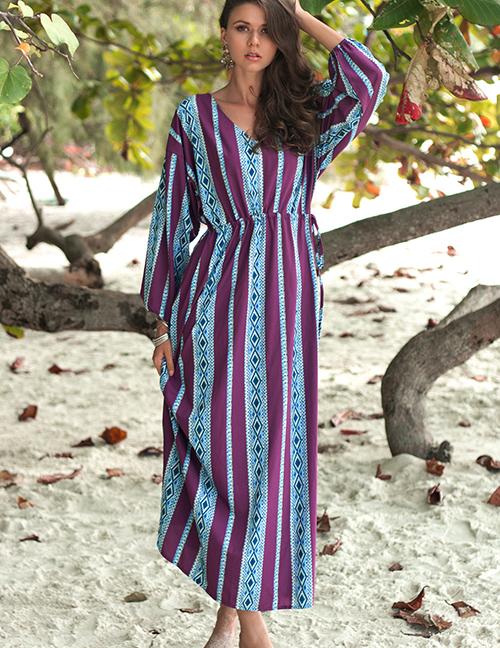 Fashion Multi-color Stripe Pattern Decorated Dress
