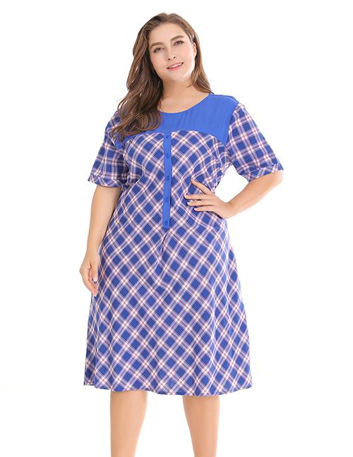 Fashion Blue Grid Pattern Decorated Dress