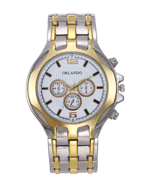 Fashion White Round Shape Dial Decorated Watch