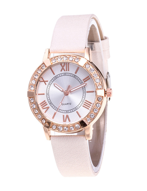 Fashion White Roman Numerals Decorated Watch