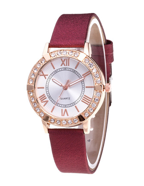 Fashion Claret Red Roman Numerals Decorated Watch