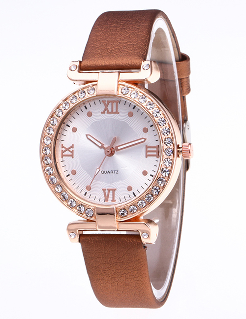 Fashion Brown Roman Numerals Decorated Watch