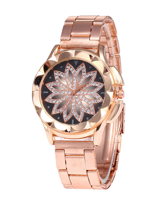 Fashion Rose Gold Flower Pattern Decorated Watch