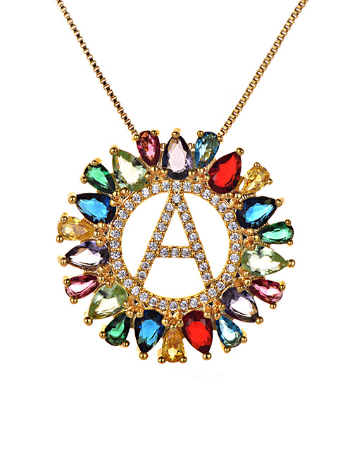 Fashion Multi-color Full Diamond Decorated A Letter Shape Necklace