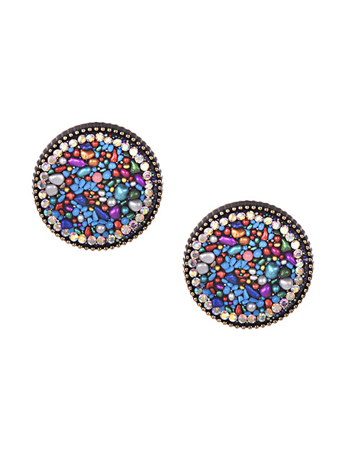 Fashion Colorful Alloy Resin Diamond Earrings Round Nail