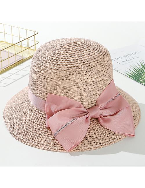 Fashion Pink Big Bow Big Straw Hat