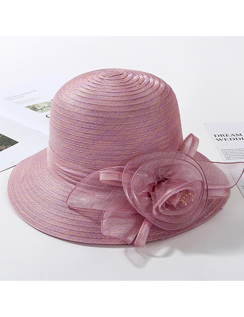 Fashion Leather Powder Organza Flower Foldable Fisherman Hat