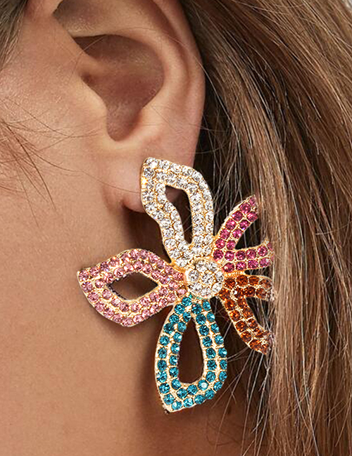 Fashion Color Alloy Diamond Large Flower Earrings