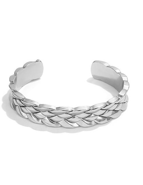Fashion Silver Alloy Relief Weaving Bracelet
