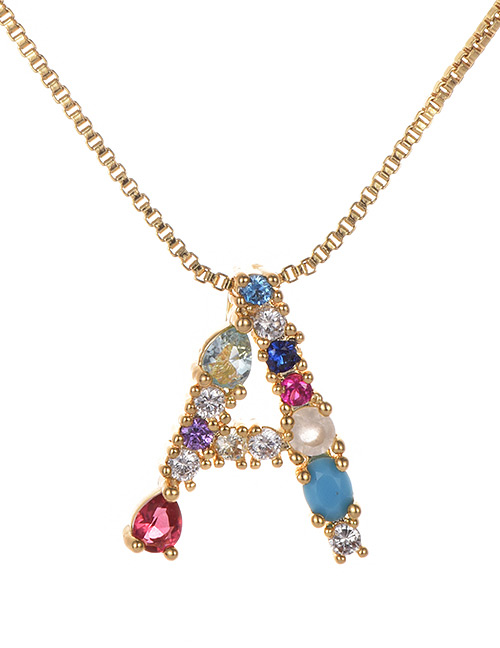 Fashion Gold Color Copper Inlaid Zircon Letter Necklace