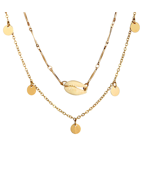 Fashion Gold Shell Round Two-layer Alloy Necklace