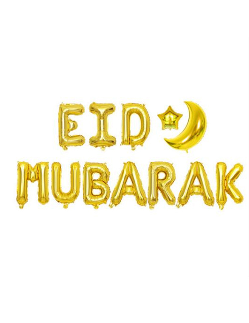 Fashion Golden Moon Star Eid Mubarak Set Aluminum Foil Balloon Set (16 Inches For The Moon / 22 Inches For The Moon / 10 Inches For The Stars)