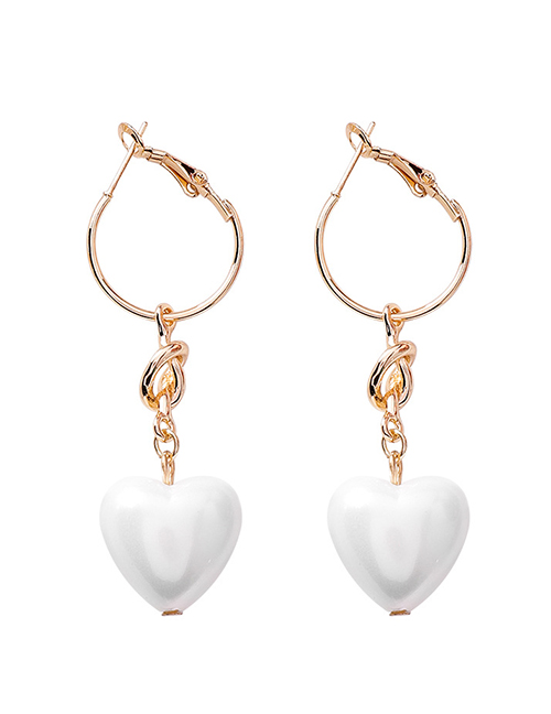 Fashion Gold Peach Heart Pearl Metal Ring Knotted Earrings
