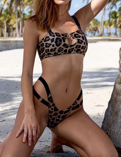 Fashion Leopard Printed Split Swimsuit