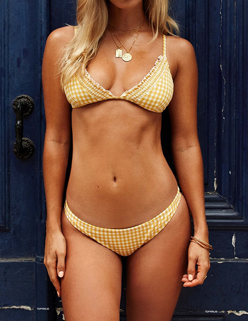 Fashion Yellow Plaid Ruffled Split Swimsuit