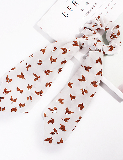 Fashion Maple Leaf Ribbon White Long Streamer Hair Band