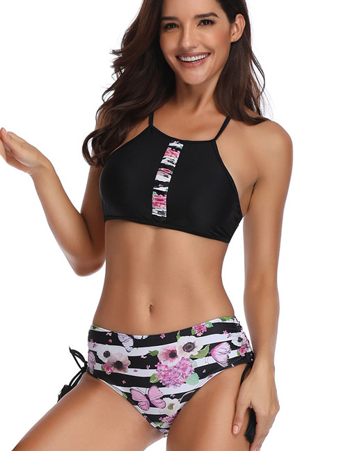 Fashion Adult Swimsuit Printed Pleated Parent-child Swimsuit