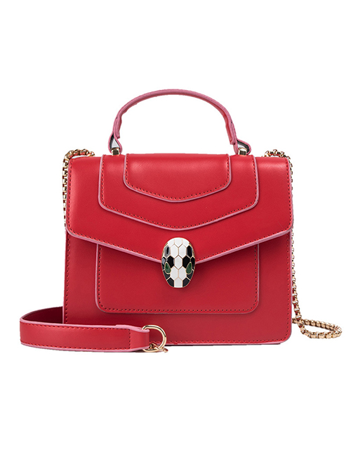 Fashion Red Contrast Snake-printed Crossbody Bag