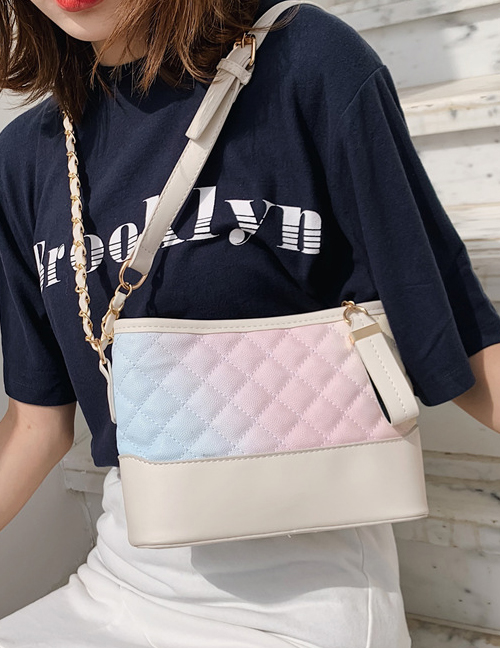 Fashion Beige Large One-shoulder Crossbody Rainbow Rhombic Bag