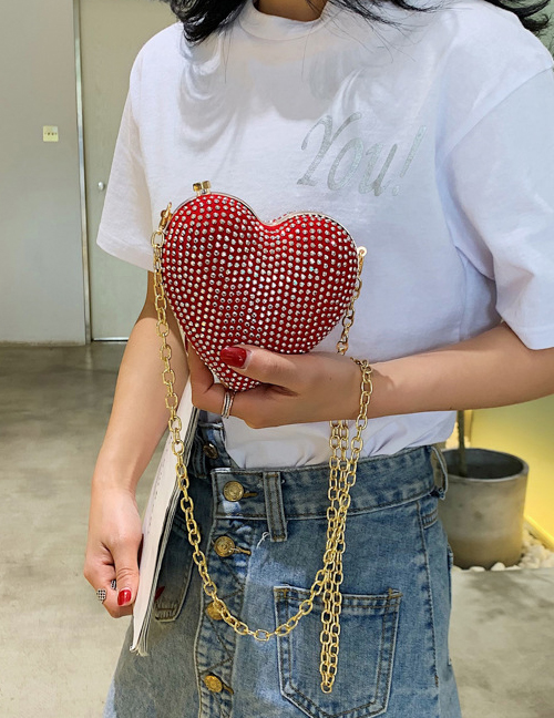 Fashion Red Crossbody Rivet Heart Bag
