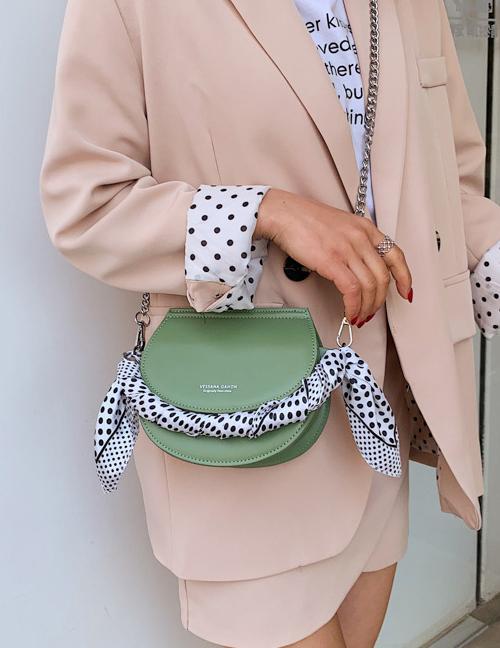Fashion Matcha Green Chain Scarf Single Shoulder Diagonal Package