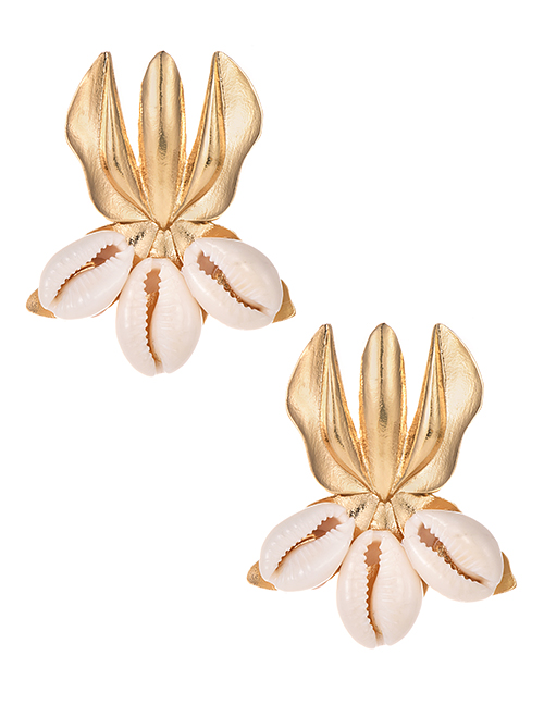 Fashion Gold Alloy Shell Geometric Earrings