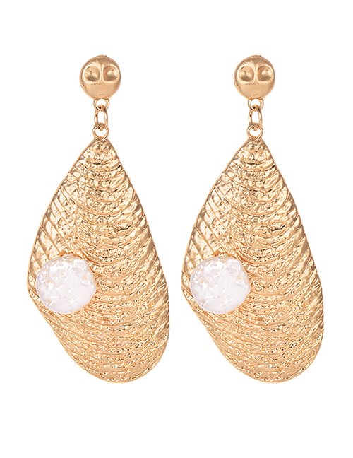 Fashion Gold Alloy Natural Pearl Geometric Earrings