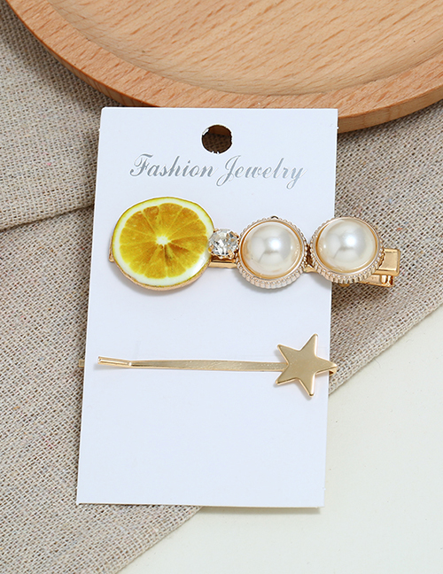 Fashion Yellow Alloy Diamond: Pearl: Lemon: Hair Clip: Two-piece