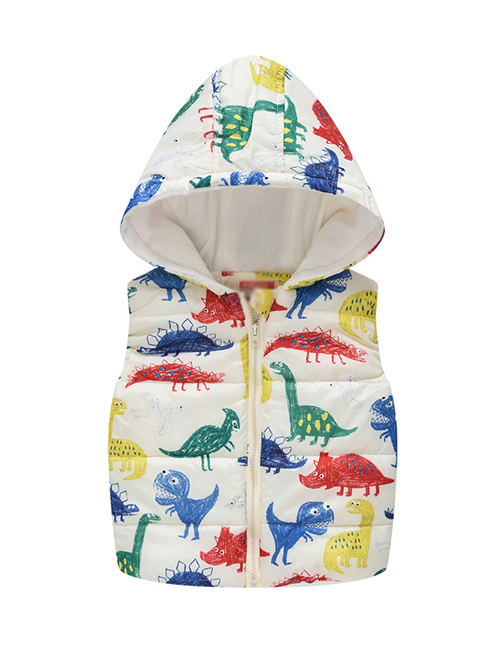 Fashion Dinosaur Cartoon Hooded Zipper Child Cotton Vest