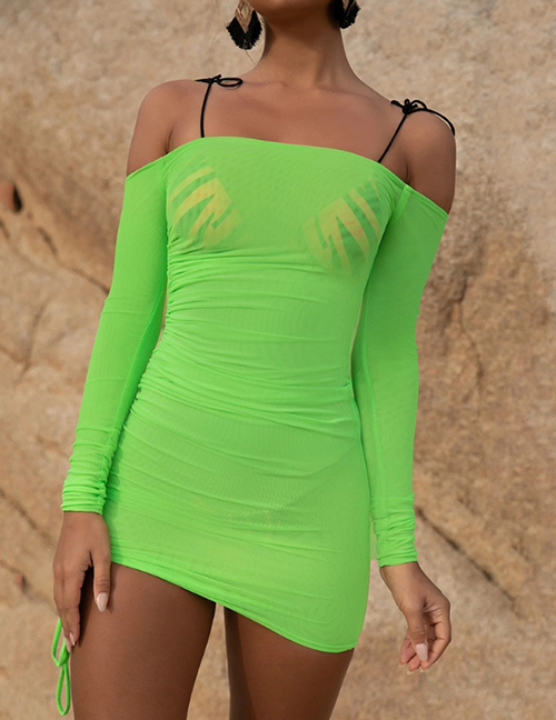 Fashion Fluorescent Green Mesh One-shoulder Smocked Lace Dress
