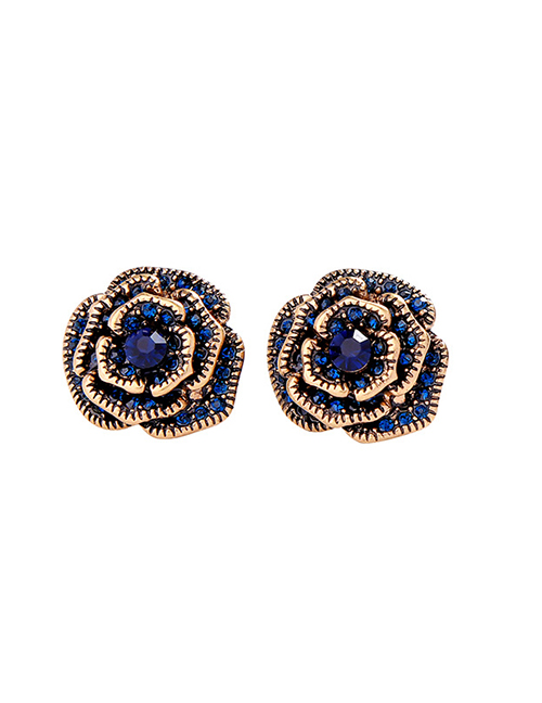 Fashion Blue Rose Flower Earrings