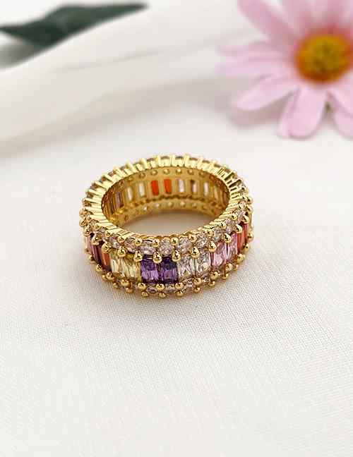 Fashion Gold Copper Inlaid Zircon Ring