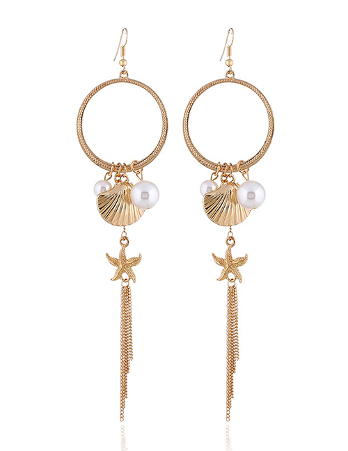 Fashion Gold Starfish Shell Pearl Earrings