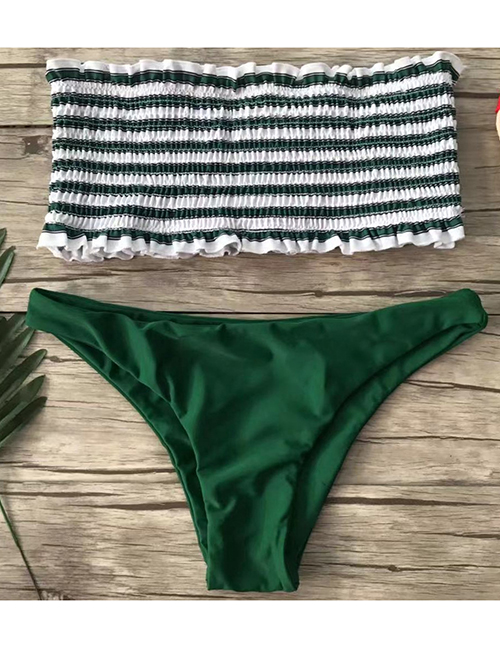 Fashion Rough Striped Green Tube Top Folds And Split Swimsuit
