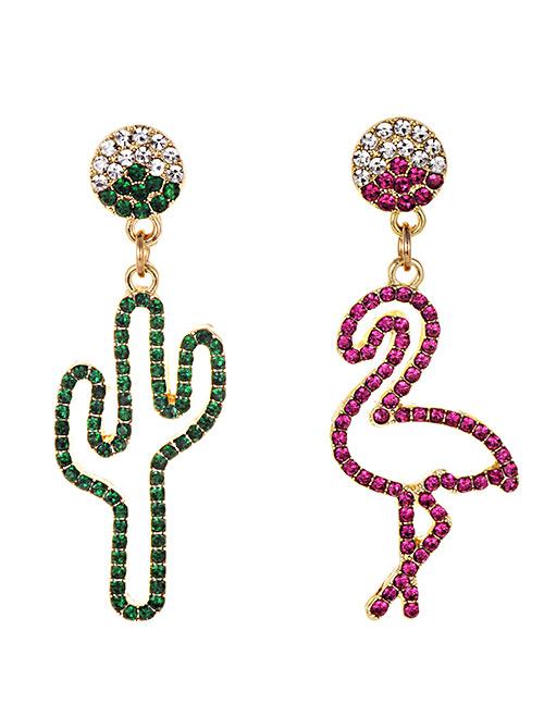 Fashion Green + Red Alloy Diamond Asymmetric Cactus Ostrich Stud Earrings