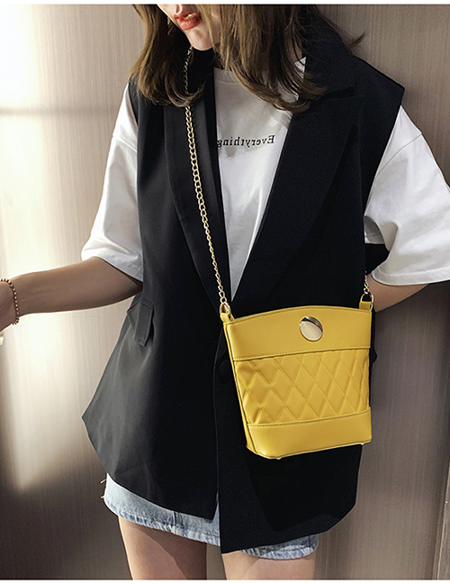 Fashion Yellow Pure Color Decorated Shoulder Bag