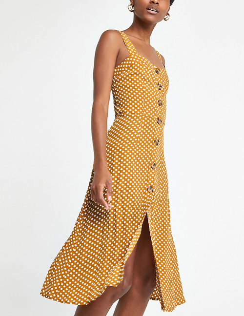 Fashion Yellow Yellow Bottom Wave Dress