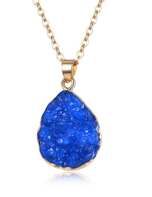 Fashion Blue Imitation Natural Stone Drop-shaped Resin Necklace