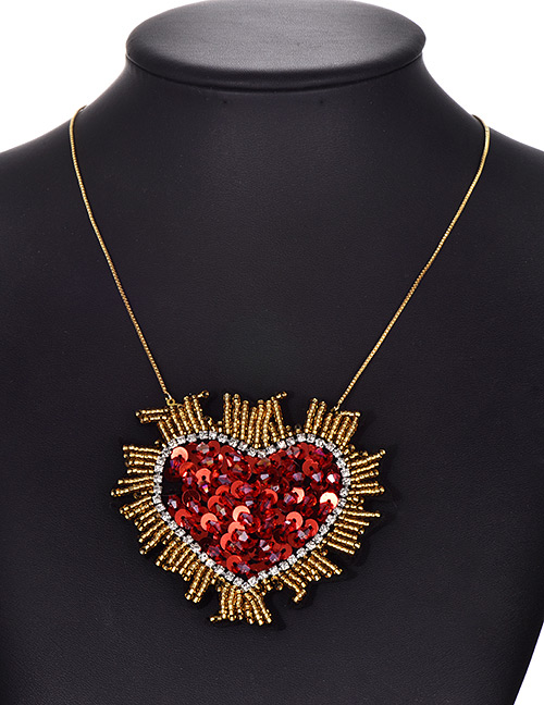 Fashion Gold Alloy Rice Beads Sequins Rhinestone Love Necklace