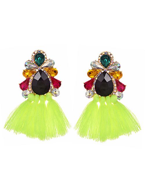 Fashion Fluorescent Green Alloy Studded Tassel Earrings