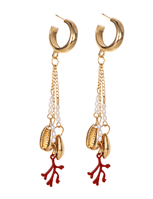 Fashion Gold Alloy Pearl Pearl Pearl Antler Earrings