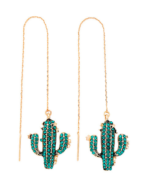 Green S925 Silver Needle Cactus With Diamond Earrings