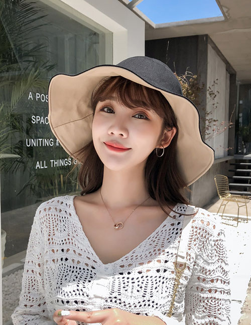 Fashion Black Beige Double-sided Hat Sun Hat
