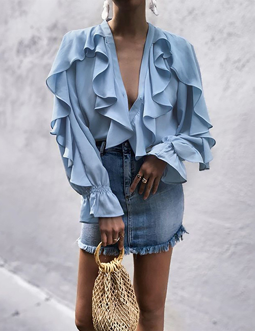 Fashion Light Blue Ruffled V-neck Flared Shirt