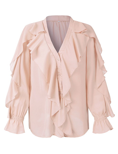 Fashion Apricot Ruffled V-neck Flared Shirt